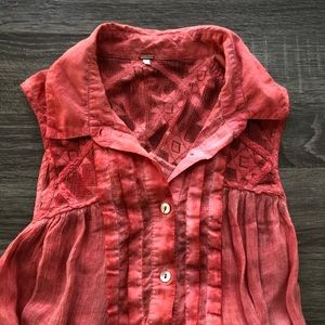 Free People Coral Tank, Cotton, Size Small